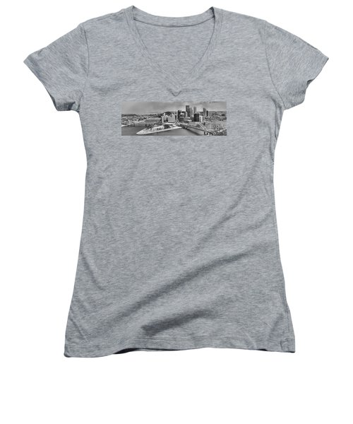 Pittsburgh Black And White Winter Panorama Women's V-Neck (Athletic Fit)