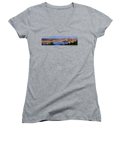Pittsburgh Pennsylvania Skyline At Dusk Sunset Extra Wide Panorama Women's V-Neck T-Shirt