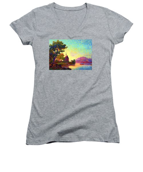 Beautiful Church, Place Of Welcome Women's V-Neck T-Shirt (Junior Cut) by Jane Small