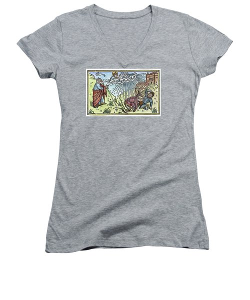 Women's V-Neck T-Shirt (Junior Cut) featuring the painting Plague Of Hail by Granger