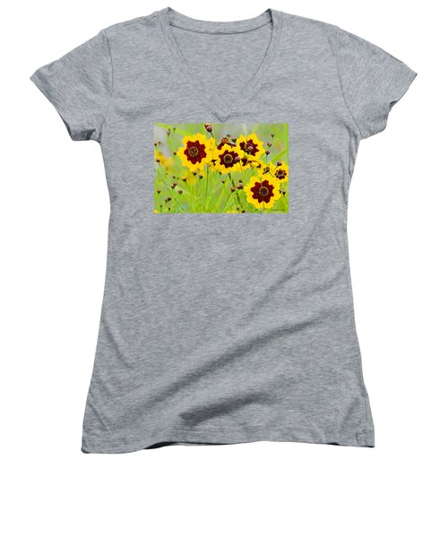 Plains Coreopsis Women's V-Neck T-Shirt (Junior Cut)