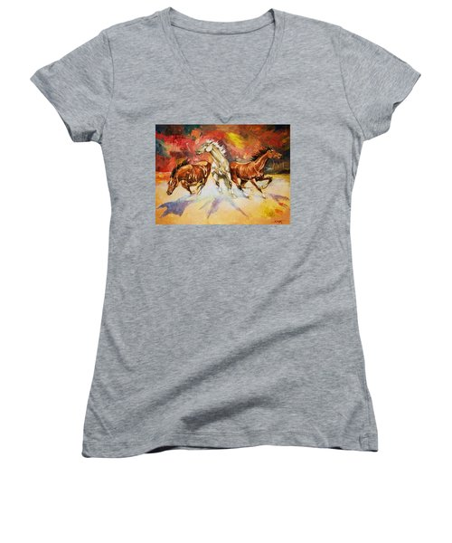 Women's V-Neck T-Shirt (Junior Cut) featuring the painting Plains Thunder by Al Brown