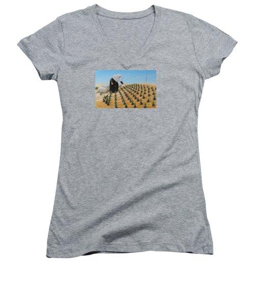 Planting Flowers Women's V-Neck T-Shirt