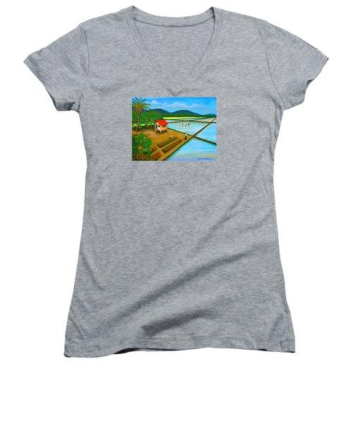 Planting Season Women's V-Neck T-Shirt (Junior Cut) by Cyril Maza