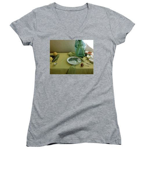 Plates, Apples And A Vase On A Green Tablecloth Women's V-Neck