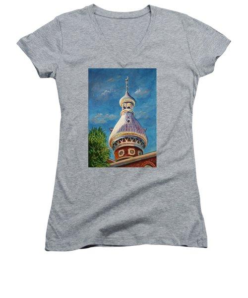 Play Of Light - University Of Tampa Women's V-Neck T-Shirt (Junior Cut) by Roxanne Tobaison