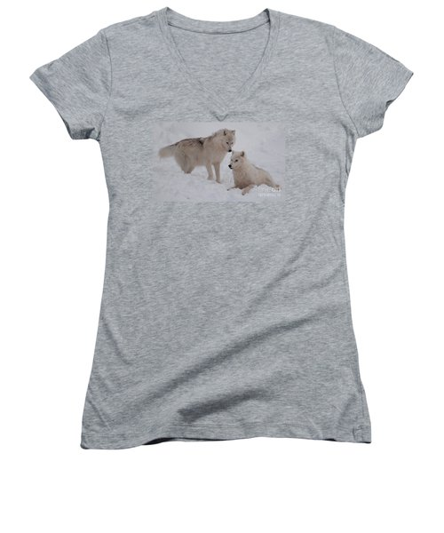Women's V-Neck T-Shirt (Junior Cut) featuring the photograph Play Time by Bianca Nadeau
