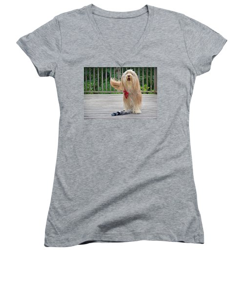 Play With Me Women's V-Neck (Athletic Fit)