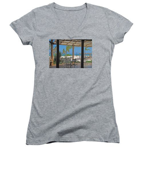 Playa Blanca Restaurant Bar Area Punta Cana Dominican Republic Women's V-Neck T-Shirt (Junior Cut) by Heather Kirk