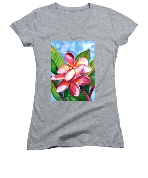 Playful Plumeria Women's V-Neck T-Shirt