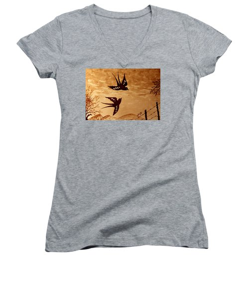 Women's V-Neck featuring the painting Playful Swallows Original Coffee Painting by Georgeta  Blanaru