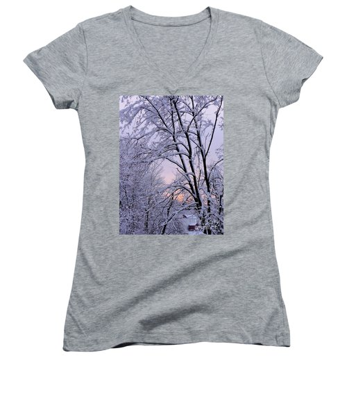 Playhouse Through Snow Women's V-Neck (Athletic Fit)