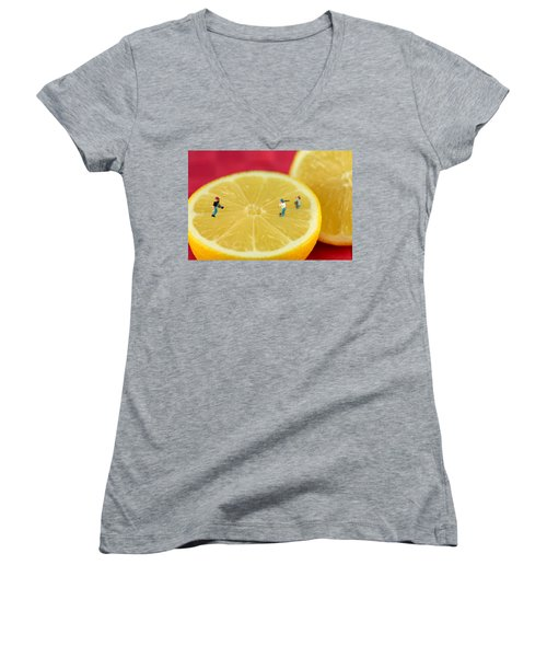 Playing Baseball On Lemon Women's V-Neck T-Shirt (Junior Cut) by Paul Ge