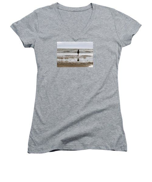 Women's V-Neck T-Shirt (Junior Cut) featuring the photograph Girl Playing In Sea Foam by Haleh Mahbod