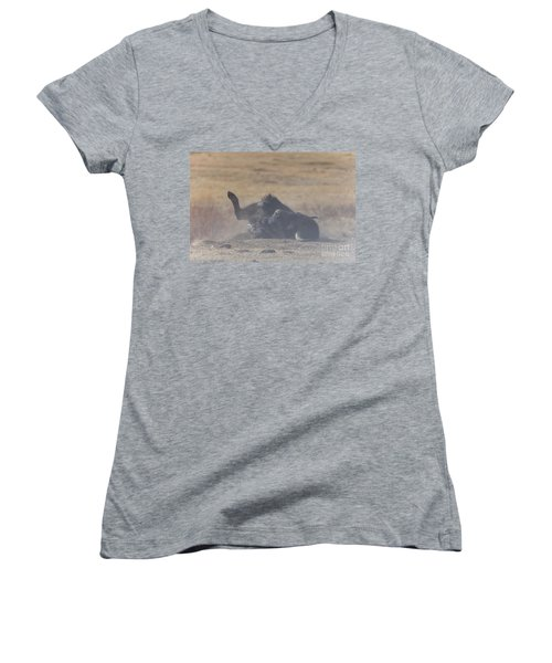 American Bison Playing In The Dirt At Custer State Park South Dakota Women's V-Neck T-Shirt
