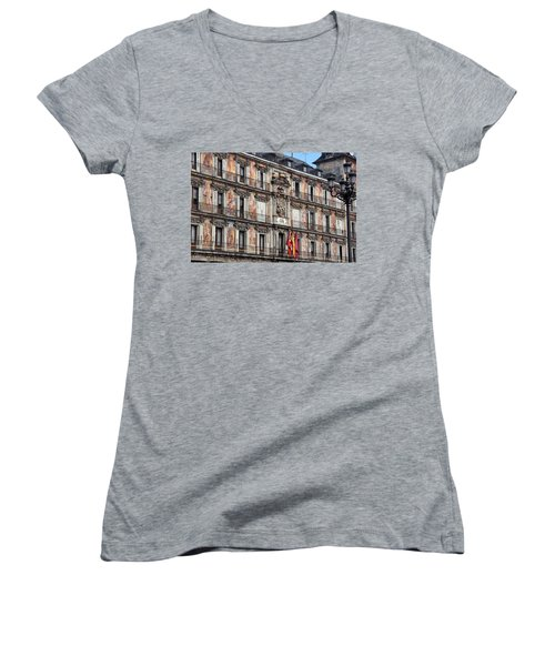 Plaza Mayor Women's V-Neck T-Shirt (Junior Cut) by Debi Demetrion