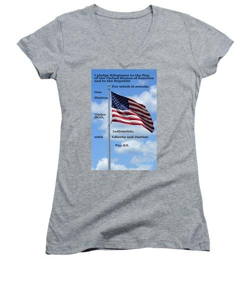 Pledge Of Allegiance Women's V-Neck (Athletic Fit)