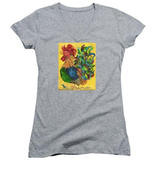 Plucky Rooster  Women's V-Neck T-Shirt (Junior Cut) by Eloise Schneider
