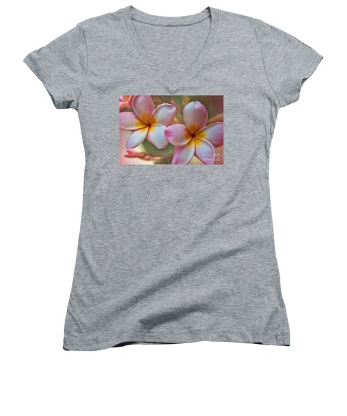 Women's V-Neck T-Shirt (Junior Cut) featuring the photograph Plumeria Pair by Peggy Hughes