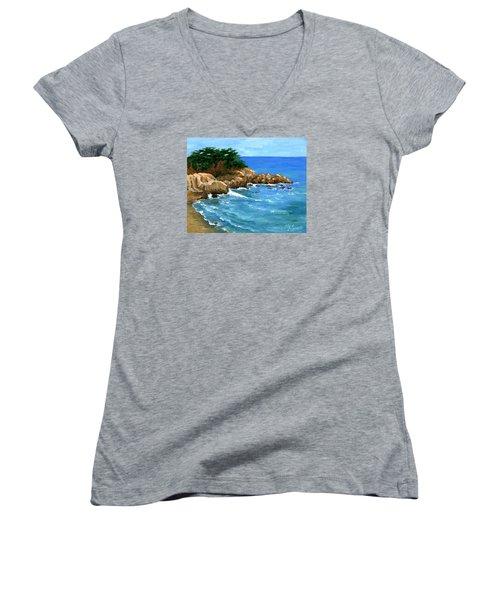 Point Lobos Coast Women's V-Neck T-Shirt (Junior Cut) by Alice Leggett