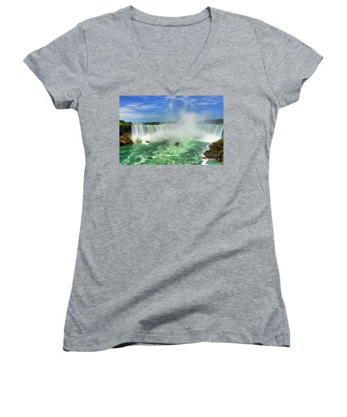 Point Of Land Cut In Two.. Women's V-Neck