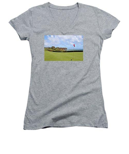 Poipu Bay #16 Women's V-Neck T-Shirt (Junior Cut) by Scott Pellegrin