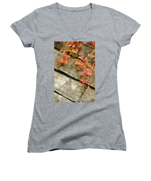 Women's V-Neck T-Shirt (Junior Cut) featuring the photograph Poison Ivy by Mary Carol Story
