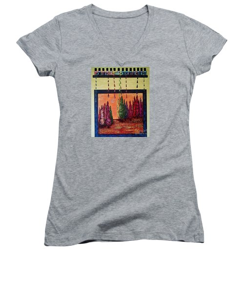 Polished Forest Women's V-Neck T-Shirt (Junior Cut) by Jasna Gopic