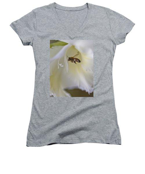 Pollen Carrier Bee Women's V-Neck T-Shirt (Junior Cut) by Maj Seda