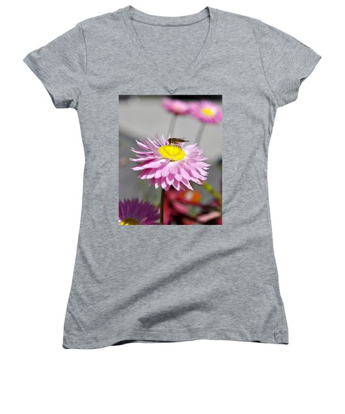 Women's V-Neck T-Shirt (Junior Cut) featuring the photograph Pollination by Cathy Mahnke
