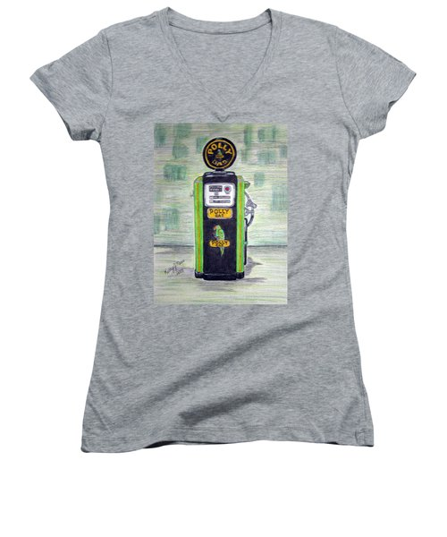 Women's V-Neck T-Shirt (Junior Cut) featuring the painting Polly Gas Pump by Kathy Marrs Chandler
