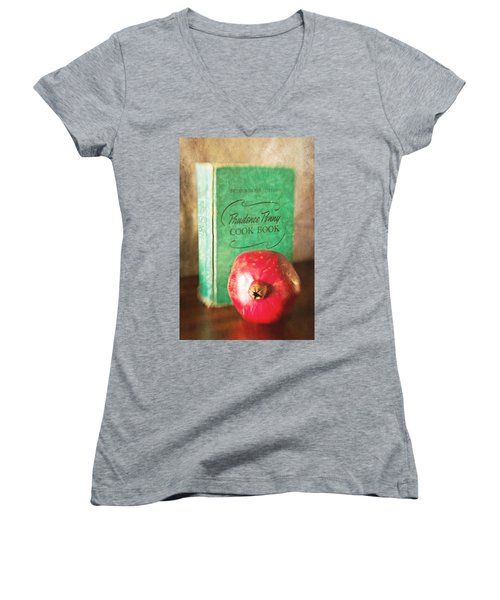 Pomegranate And Vintage Cook Book Still Life Women's V-Neck