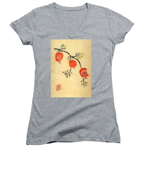 Pomegranates Women's V-Neck T-Shirt