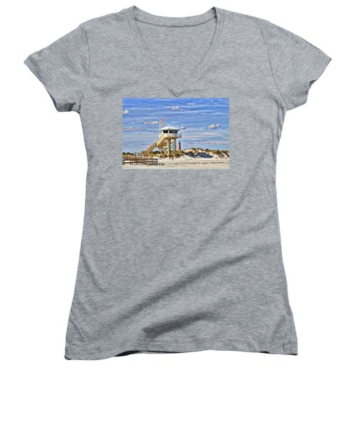 Ponce Inlet Scenic Women's V-Neck T-Shirt (Junior Cut) by Alice Gipson