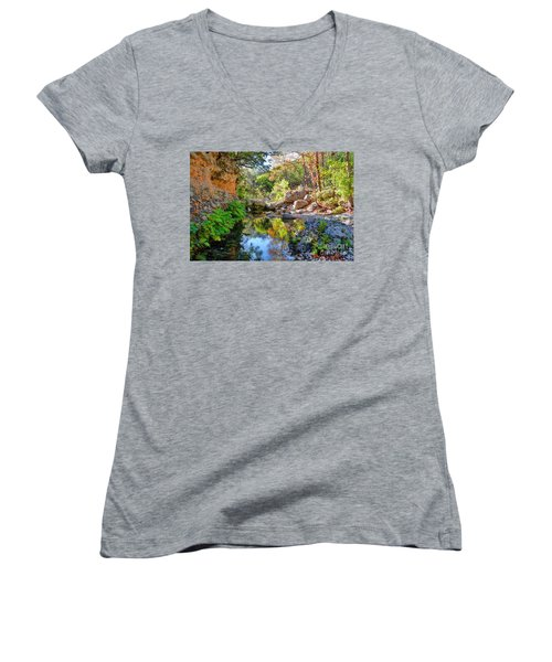 Pond At Lost Maples Women's V-Neck (Athletic Fit)