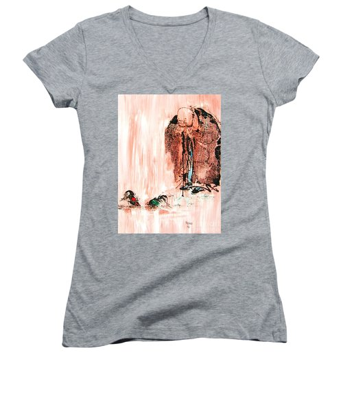 Pondering Aggression Women's V-Neck T-Shirt (Junior Cut) by Roberto Prusso