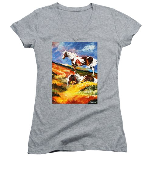 Ponies At Sunset Women's V-Neck (Athletic Fit)