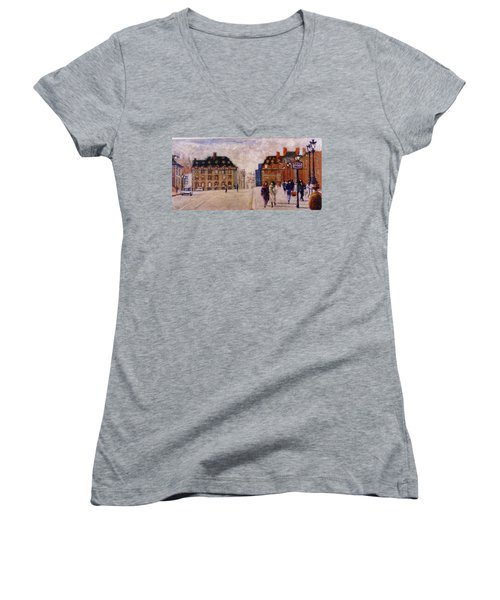 Women's V-Neck T-Shirt (Junior Cut) featuring the painting Pont Neuf by Walter Casaravilla