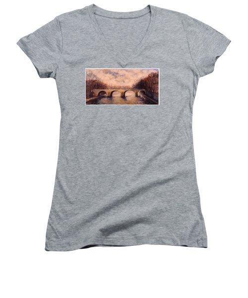 Women's V-Neck T-Shirt (Junior Cut) featuring the painting Pont Sur La Seine by Walter Casaravilla
