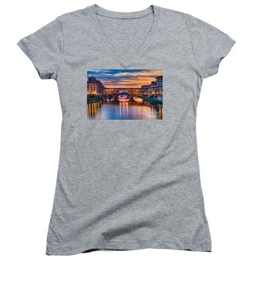 Ponte Vecchio At Sunset Women's V-Neck T-Shirt