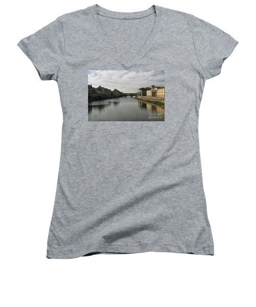 Women's V-Neck T-Shirt (Junior Cut) featuring the photograph Ponte Vecchio by Belinda Greb