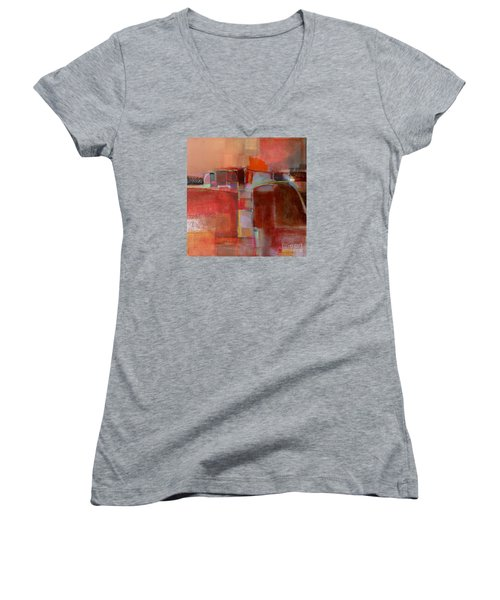 Women's V-Neck T-Shirt (Junior Cut) featuring the painting Pont Des Arts by Michelle Abrams