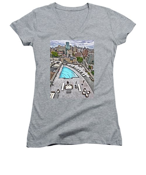 Pool With A View Women's V-Neck T-Shirt (Junior Cut) by Steve Sahm