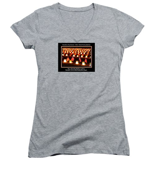 Poor Is The Nation That Has No Heroes.  Shameful Is The One That Having Them Forgets - Gettysburg Women's V-Neck T-Shirt