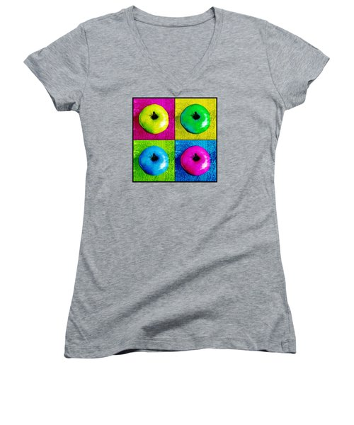 Pop Art Apples Women's V-Neck (Athletic Fit)