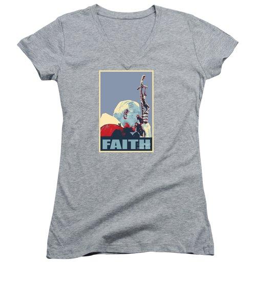 Pope John Paul II Women's V-Neck T-Shirt (Junior Cut) by Jean luc Comperat