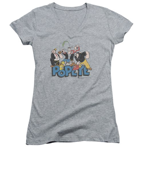 Popeye - The Gang Women's V-Neck T-Shirt