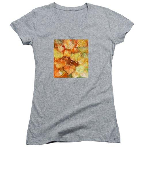 Poplar Leaves Women's V-Neck T-Shirt (Junior Cut) by Susan Crossman Buscho