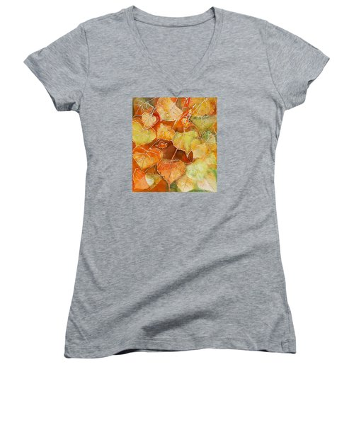 Poplar Leaves Women's V-Neck (Athletic Fit)