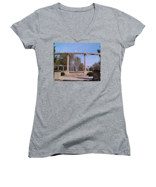 Popp Fountain New Orleans City Park Women's V-Neck T-Shirt (Junior Cut) by Deborah Lacoste
